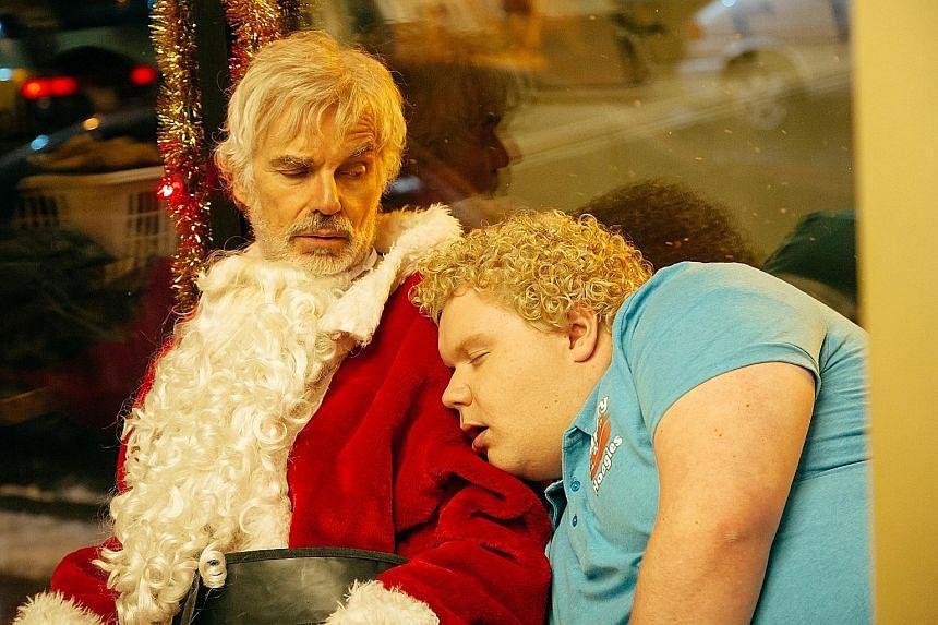 Bad Santa 2 sees the return of Billy Bob Thornton (above left) as Willie and Brett Kelly as Thurman Merman.