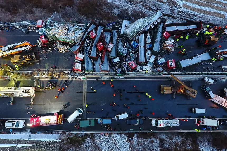 A huge pile-up on a Chinese expressway killed at least 17 people on Monday when 56 vehicles crashed into one another. Another 37 injured people were stable after treatment, official news agency Xinhua reported. The accident happened in snow and rainy