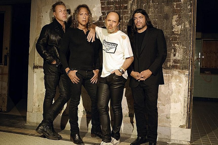 Metallica (from left, James Hetfield, Kirk Hammett, Lars Ulrich and Robert Trujillo) sound rejuvenated and robust in Hardwired... To Self-Destruct.