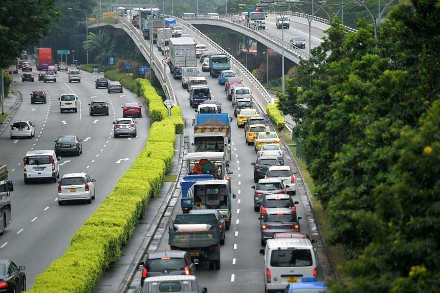 Morning peak hour heavy traffic along Braddell Road.