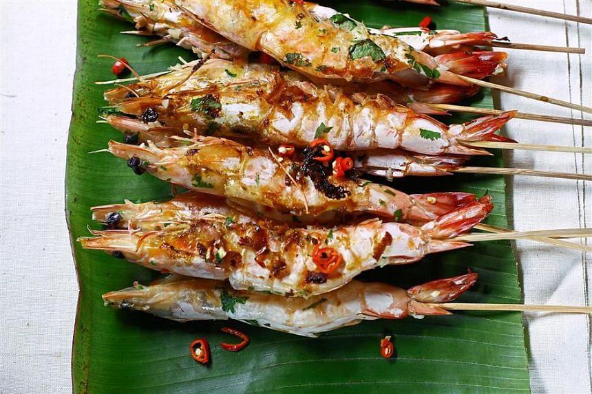 Grilled prawns with garlic, chilli and coriander.