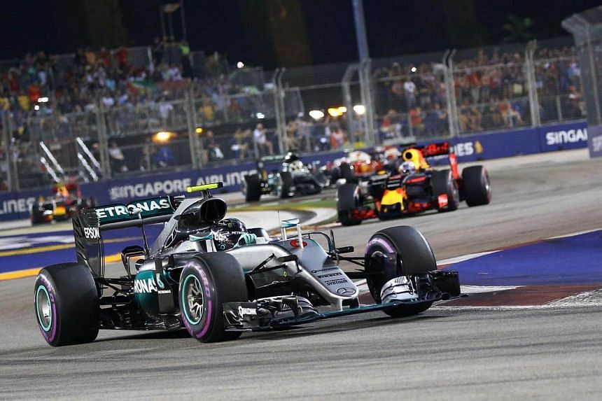 Mercedes AMG Petronas Formula One pilot driver Nico Rosberg of Germany in action at the Formula 1 Singapore Airlines Singapore Grand Prix at the Marina Bay Street Circuit on Sept 18, 2016.