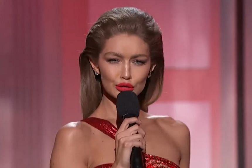 Gigi Hadid delivering her impersonation of Melania Trump in a screenshot from YouTube.