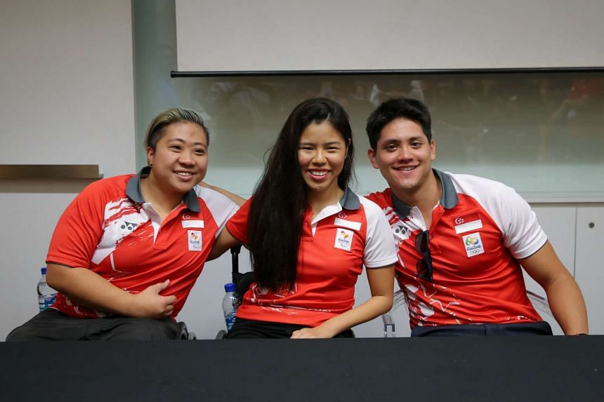 (From left) Paralympic medalists Theresa Goh and Yip Pin Xiu with Olympic gold medalist Joseph Schooling at the SSA Legacy Council Exhibition at the National Museum.