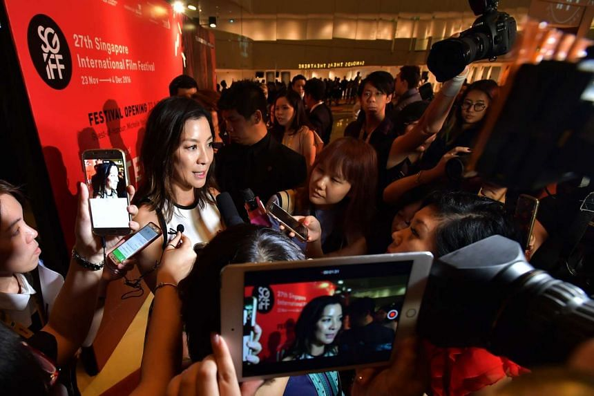 Michelle Yeoh attends the opening of the Singapore International Film Festival at Sands Theatre, Marina Bay Sands on Nov 23, 2016.