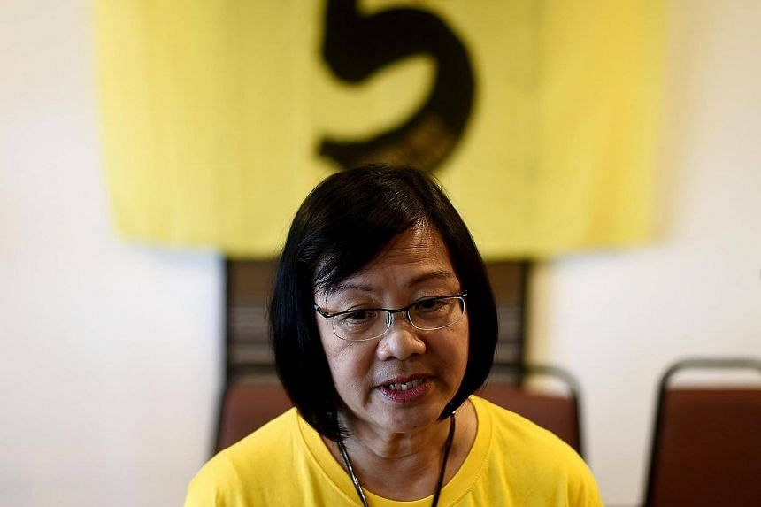 Maria Chin Abdullah, chairperson of the coalition of Malaysian NGOs and activist groups known as Bersih, addressing journalists in Kuala Lumpur.