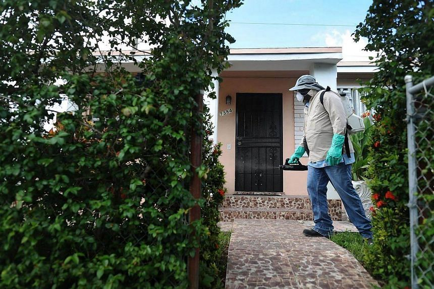 Joseph Blackman, a Miami-Dade County mosquito control inspector, uses a sprayer filled with a pesticide in an attempt to kill mosquitos that are carrying the Zika virus on Oct 14, 2016 in Miami, Florida.