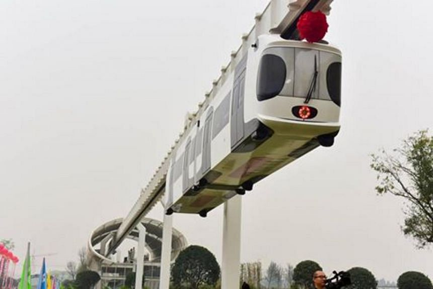 """China's first public suspension railway, dubbed the """"sky train"""", will undergo a trial."""