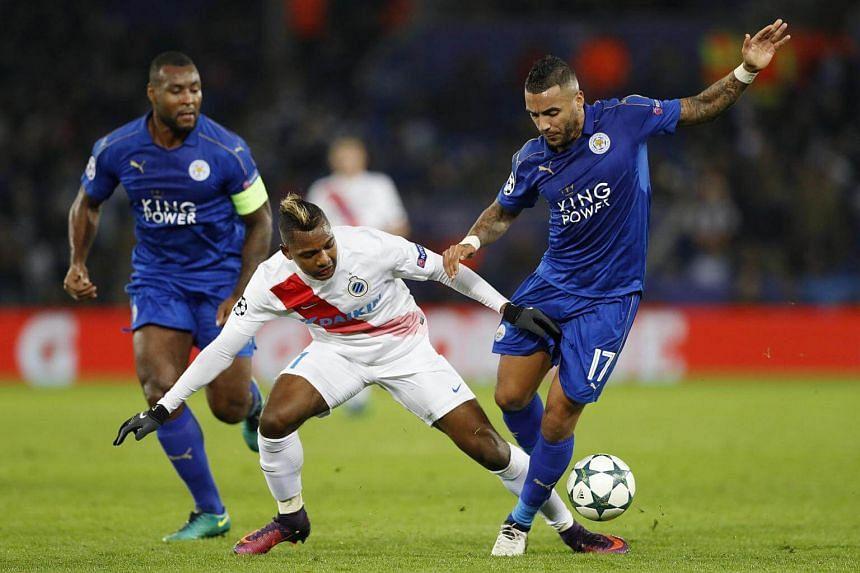 Club Brugge's Jose Izquierdo in action with Leicester City's Danny Simpson.