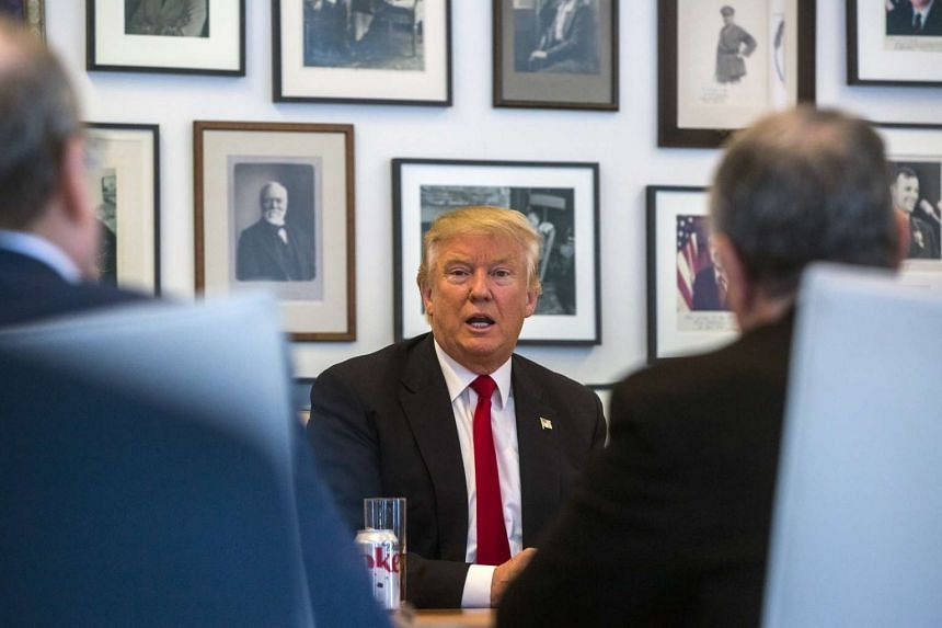 President-elect Donald Trump during a meeting with reporters, columnists and company leadership from the New York Times.