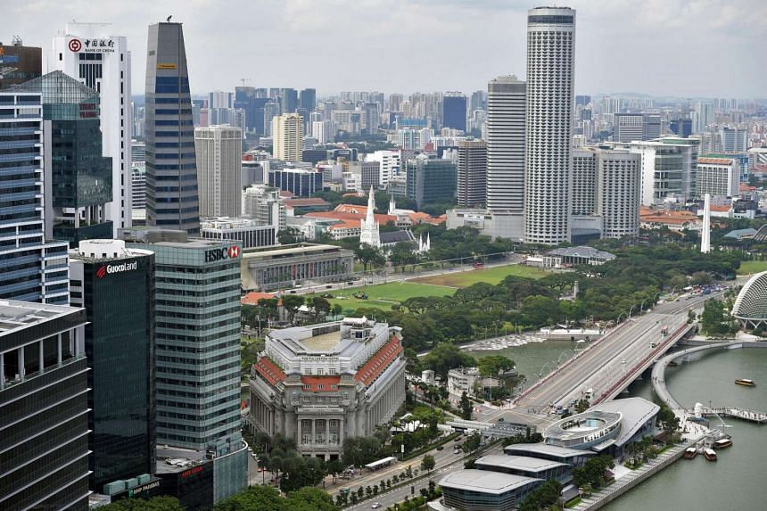 The Singapore skyline with the Central Business District on the left.