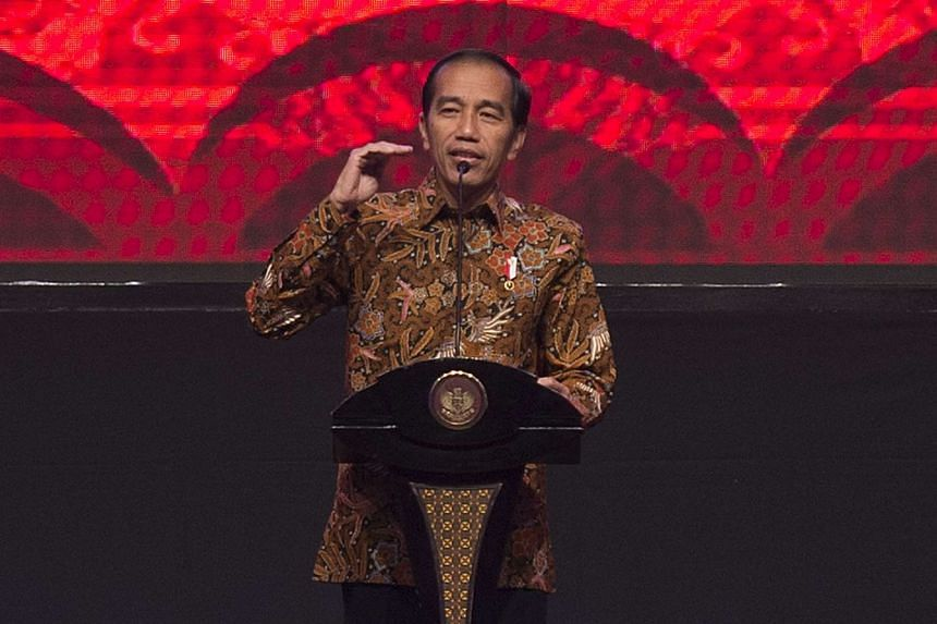 Joko Widodo, Indonesia's president, speaks during the Bank Indonesia Annual Bankers' Dinner in Jakarta.