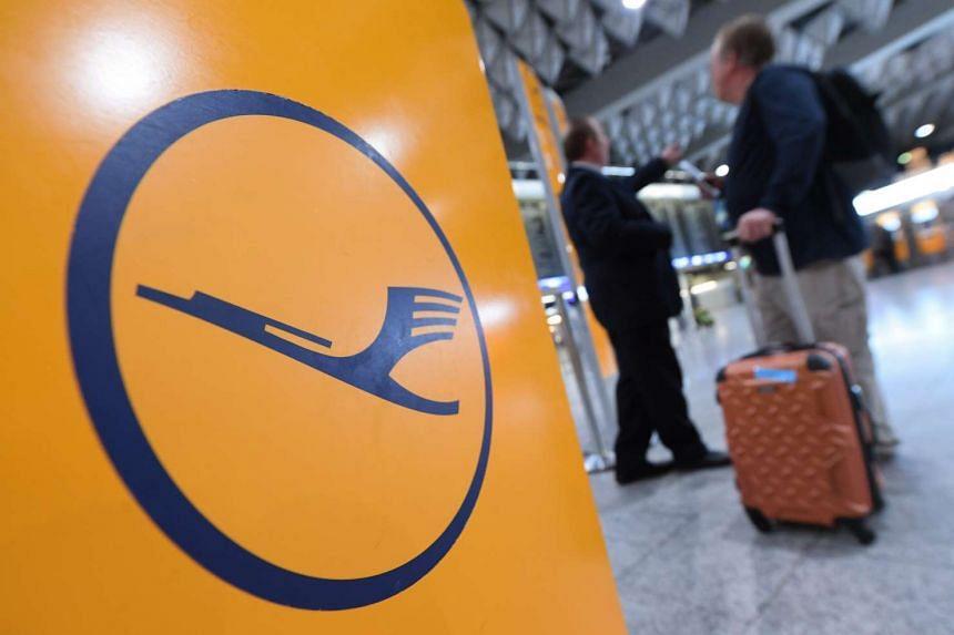 Lufthansa's logo at Terminal 1 of  Frankfurt airport on Nov 23,  2016.
