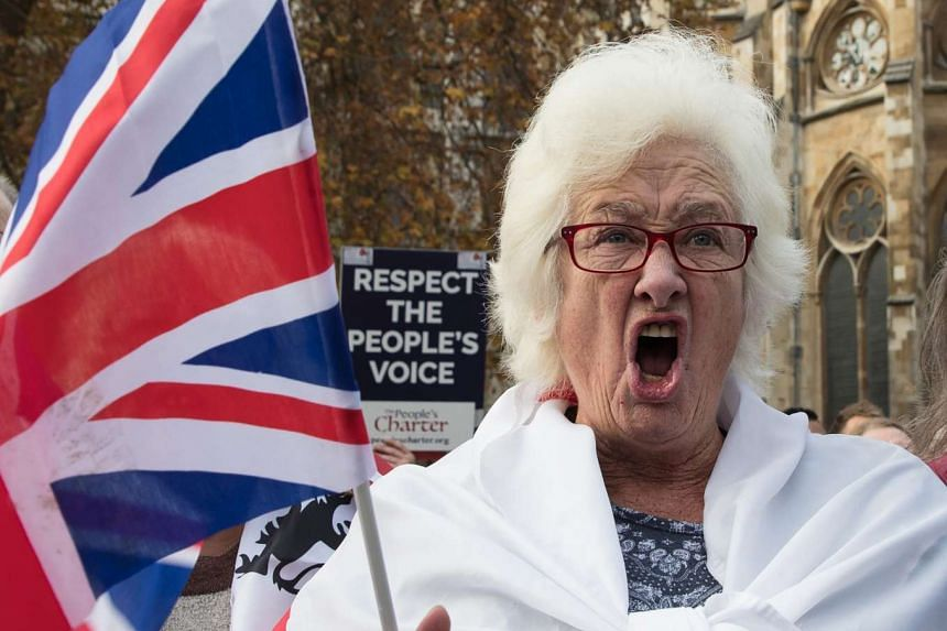 A protest participant shouts at the Old Palace Yard in London, on Nov 23, 2016.