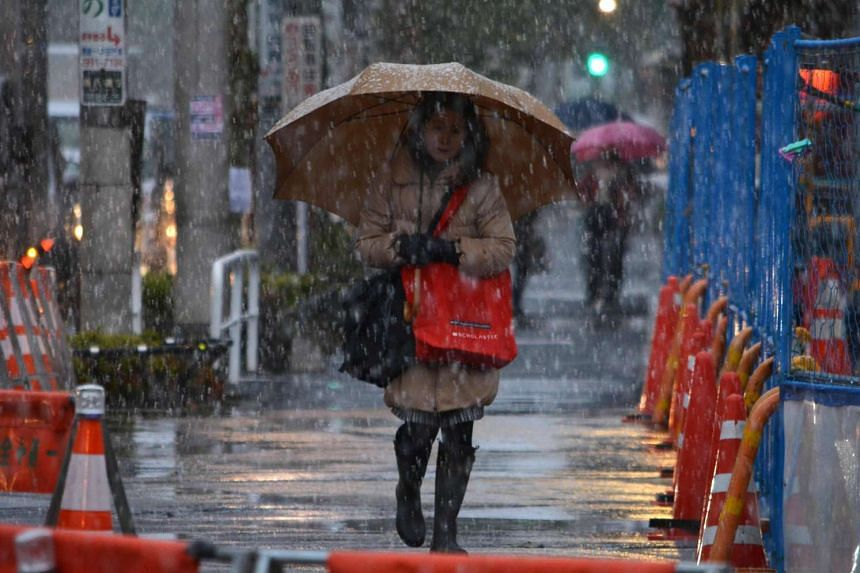 Pedestrians are heading to work in snowfall during the early morning hours in Tokyo, on Nov 24, 2016.
