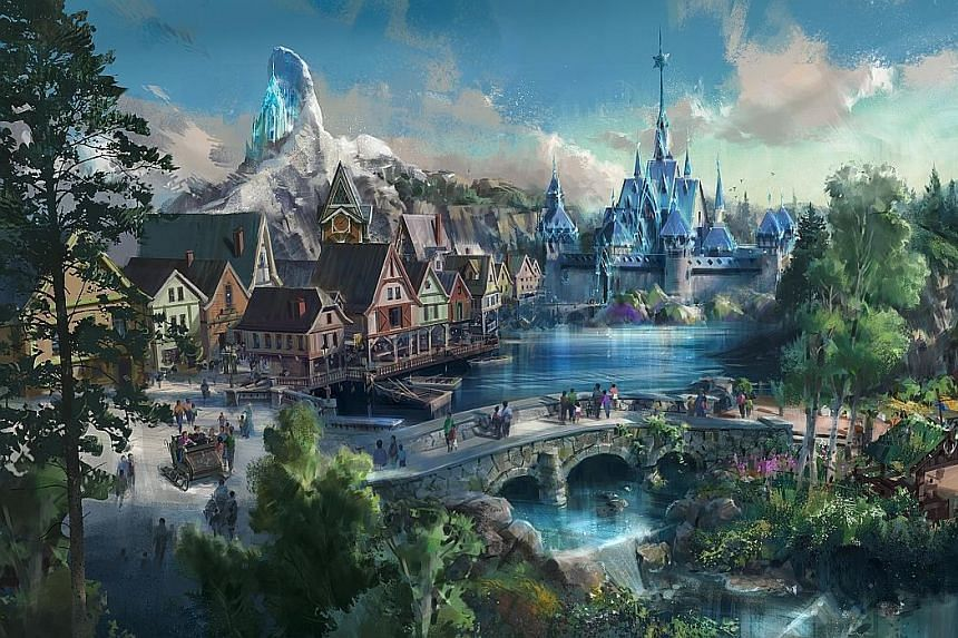An artist's rendering of the upcoming Frozen themed area at Hong Kong Disneyland, modelled after the snow-dusted Arendelle kingdom in the 2013 animated movie.