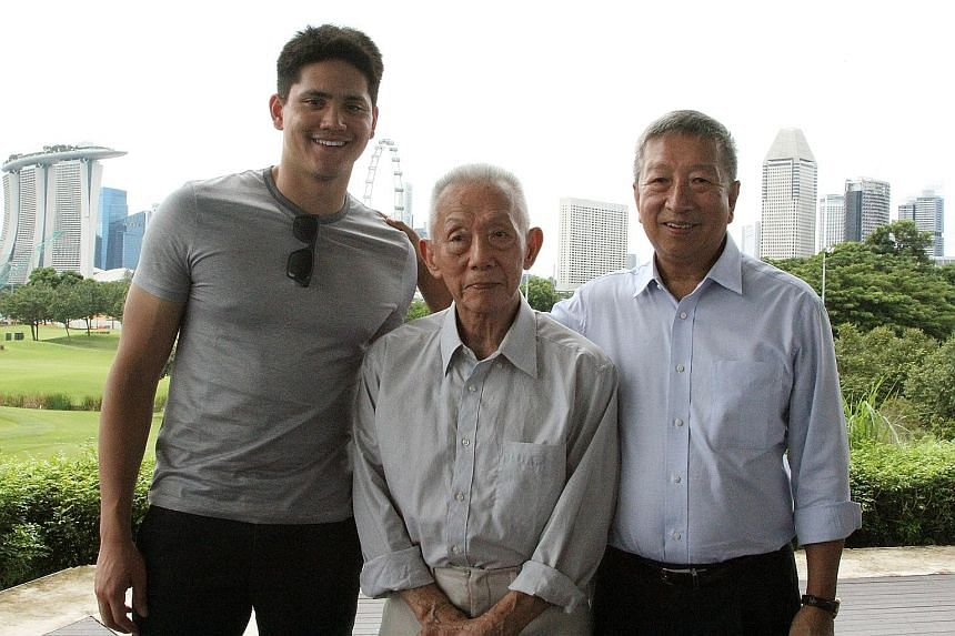 Theresa Goh, Yip Pin Xiu and Joseph Schooling at yesterday's SSA Legacy Council exhibition at the National Museum.