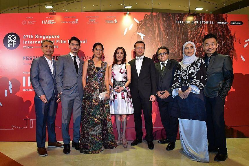 (From left) Alvin Wong, Iedil Putra, Prisia Nasution, Michelle Yeoh, Nicholas Saputra, Dain Iskandar Said, Nadiya Nisaa and Chew Kin-wah at the opening of the Singapore International Film Festival at Marina Bay Sands yesterday.