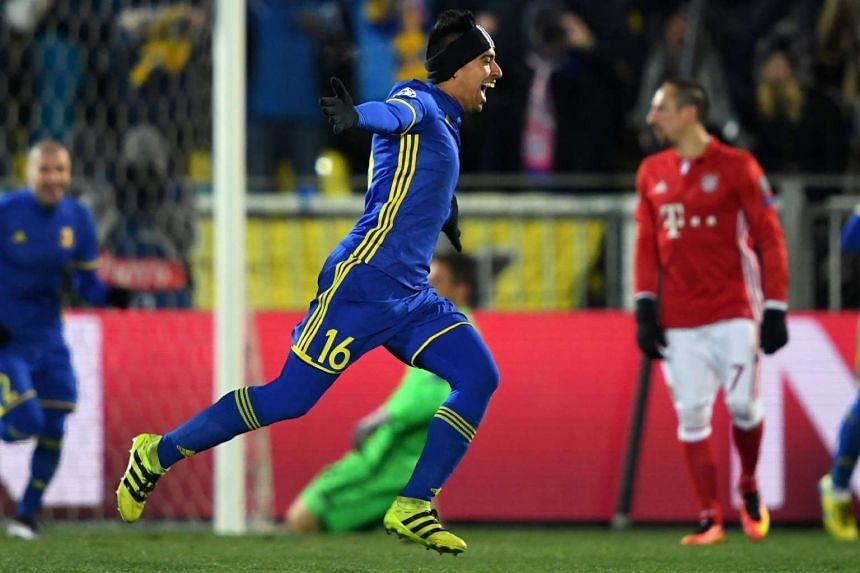 Rostov's Ecuadorian midfielder Christian Noboa celebrates after scoring his team's third goal from a free-kick during the UEFA Champions League football match at Rostov-on-Don's Olimp 2 stadium on Nov 23, 2016.