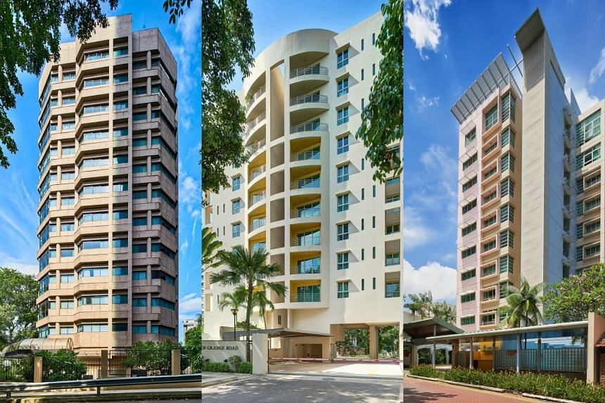 The tenders for the freehold properties, located at 3 Cuscaden Walk (left), 120 Grange Road (centre), and 8 Hullet Road, were launched simultaneously in October with an aggregate guide price of S$185 million.
