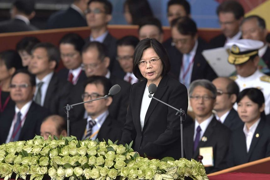 Taiwan President Tsai Ing-wen speaks during National Day celebrations on Oct 10, 2016. Taiwan is updating its foreign ministry website listing the times it says China blocked its international space.