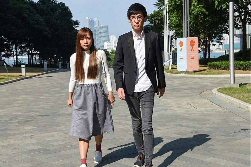 Barred lawmakers Yau Wai Ching (left) and Sixtus Leung of Youngspiration party. Their lawyers have argued that it was premature for a Hong Kong court to disqualify two lawmakers, when the legislature president had yet to rule on the matter.