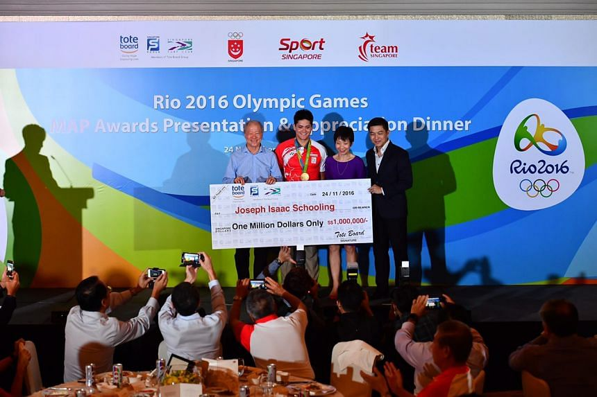 Olympic champion Joseph Schooling received $1 million as part of the Singapore National Olympic Council's multi-million dollar awards programme on Thursday (Nov 24).
