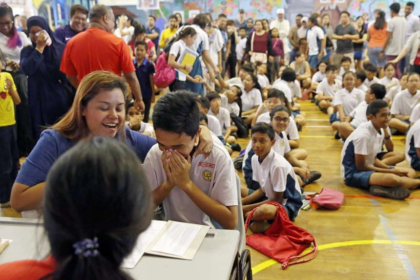 A pupil reacts after seeing his PSLE results at Lianhua Primary School, on Nov 24, 2016.
