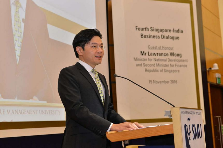 Minister for National Development Lawrence Wong at the fourth Singapore-India Business Dialogue, hosted by the Singapore Management University (SMU) on Nov 15, 2016.