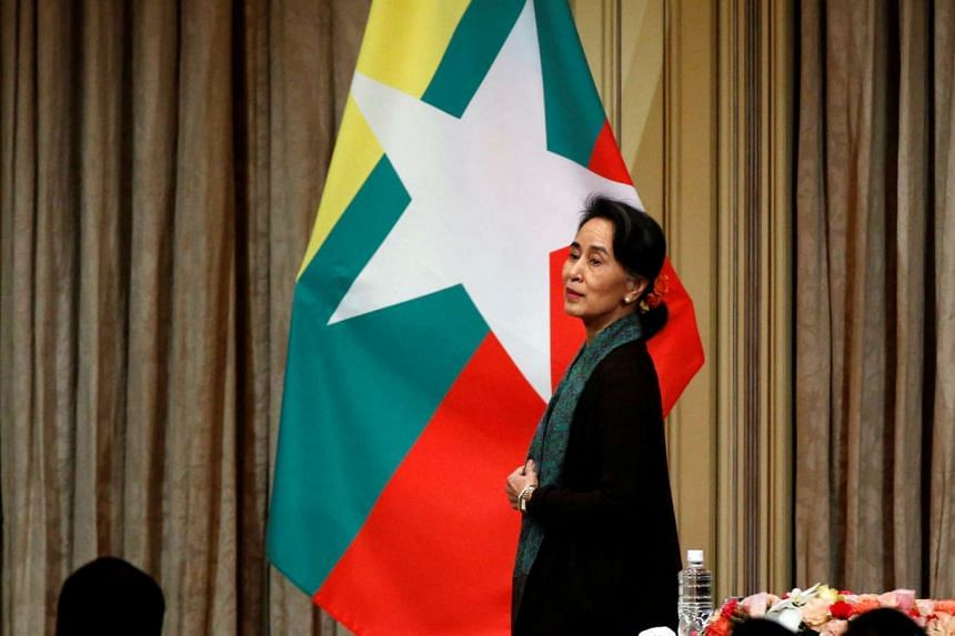 Ms Suu Kyi attending a meeting in Tokyo with Myanmar citizens residing in Japan on Nov 2. Prior to this, she had visited China, India and the United States, gaining support and concessions from all countries.