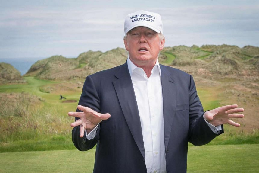 Trump speaking to members of the media during a tour of his International Golf Links course in Balmedie, on the east coast of Scotland on June 25, 2016.