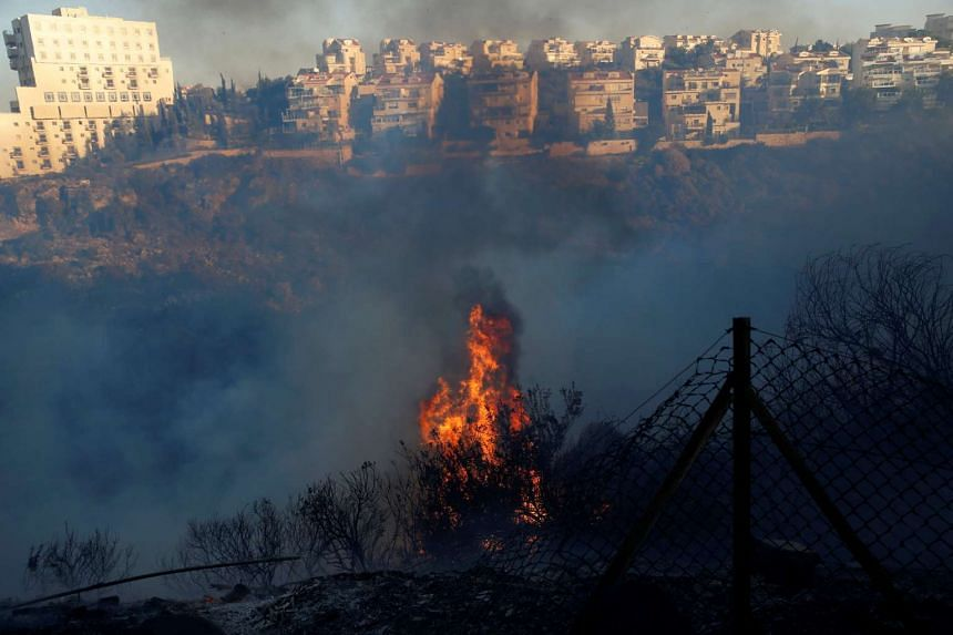 Buildings are seen as a wildfire burns in the northern city of Haifa, Israel, Nov 24, 2016.