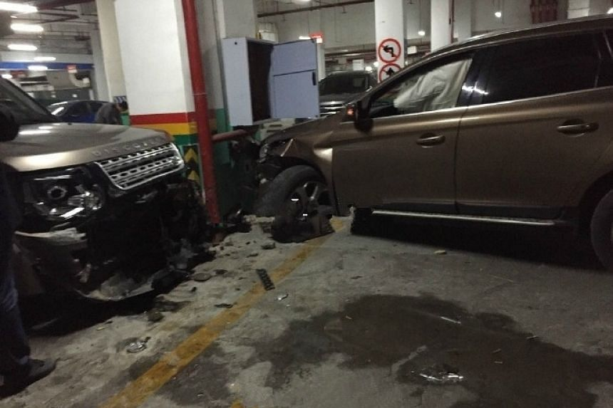 Car crashed into eight vehicles at a carpark in China's Chongqing city on Nov 24, 2016.