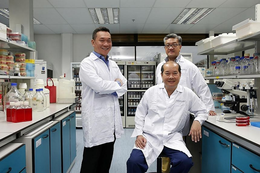 CellResearch - founded by (standing from left) group chief medical officer Ivor Lim, group chief executive Gavin Tan and group chief scientific officer Phan Toan Thang (sitting) - is now worth $700 million and has 39 patents worldwide.