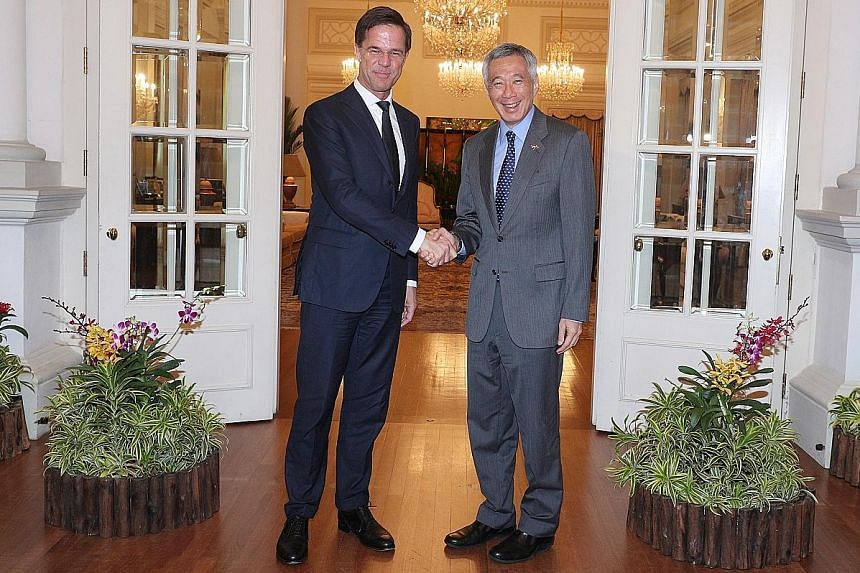 Mr Rutte meeting Prime Minister Lee Hsien Loong yesterday.