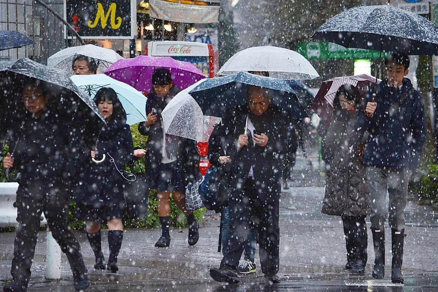 The rare November snowfall in Tokyo yesterday was caused by an eastward-moving cold front. At least 14 people were injured in falls on slippery roads and the city's train networks were hit by delays.