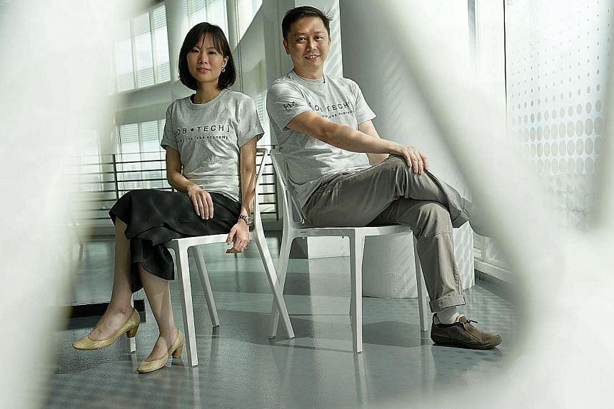 JobTech co-founders Charlotte Lim and Ang Wee Tiong. Using AI-based technology, their start-up is able to sift out bogus or duplicate job postings with more than 95 per cent accuracy.