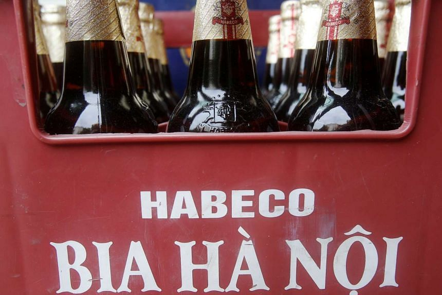 Bottles of Hanoi Beer are seen displayed for sale at a mini-mart in Hanoi.