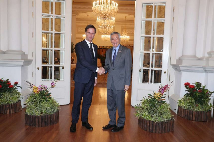 Dutch Prime Minister Mark Rutte (left) meeting Prime Minister Lee Hsien Loong.