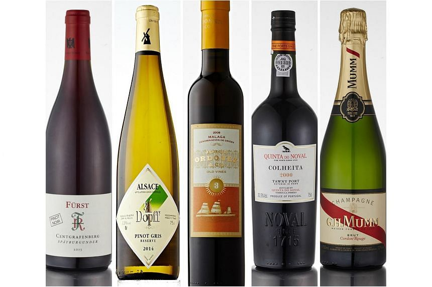 (From left) Red Wine of the Year: Rudolf Furst, Centgrafenberg Pinot Noir 2013 from Germany; White Wine of the Year: DopffAu Moulin, Pinot Gris Reserve 2014 from France; Sweet Wine of the Year: Jorge Ordonez & Co, No. 3 Vinas Viejas 2008 from Spain;