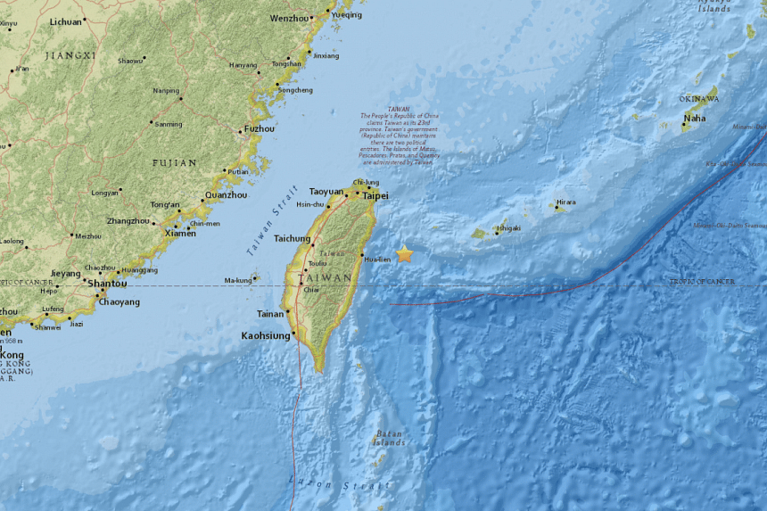 The quake hit at 5.55am and was centred 81km east of the city of Hualian at a depth of 10km , USGS said.