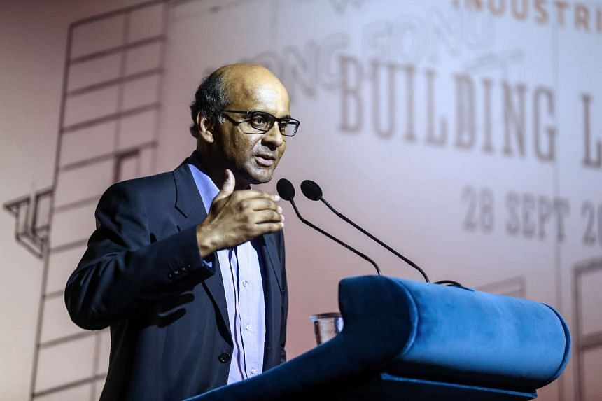 Deputy Prime Minister Tharman Shanmugaratnam speaking at the launch of the Wong Fong Industries headquarters in Joo Koon Circle on Sept 28, 2016.