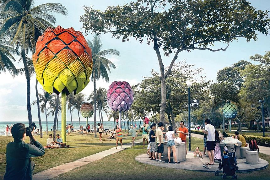 The home-grown winners at the World Architecture Festival were Spark Beach Hut concept (left) by Spark Architects and Woha's Kampung Admiralty project (above). Australian-born, Singapore-based designer Emma Maxwell's Flume Lighting Collection, which