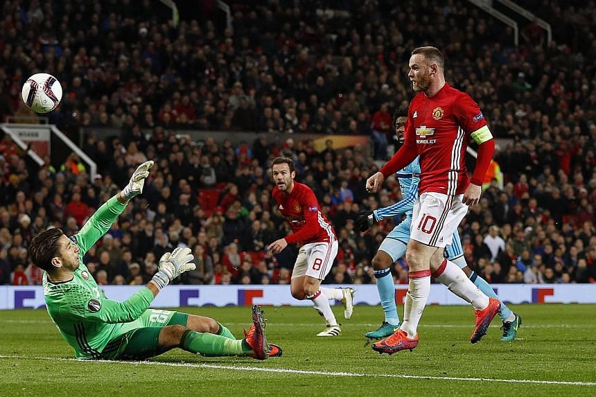 Wayne Rooney (No. 10) scoring his 39th European goal for Manchester United in the 4-0 Europa League win against Feyenoord on Thursday. Rooney, who was recalled after he was benched for Saturday's 1-1 draw with Arsenal, bounced back from a week of cri