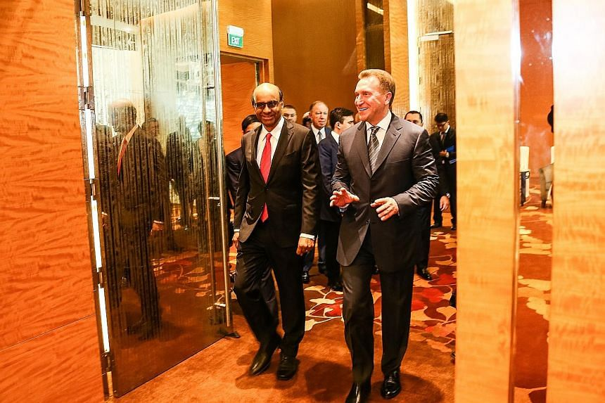 DPM Tharman and Russian First Deputy Prime Minister Igor Shuvalov participated in a keynote dialogue at the Russia-Singapore Business Forum yesterday. They had a discussion on the global environment, economic priorities in Russia and Singapore and op