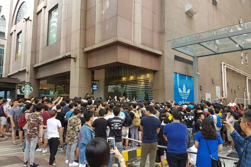 Hundreds of customers were crowded around the adidas Originals Pacific Plaza store at around 10am on Nov 26, 2016.