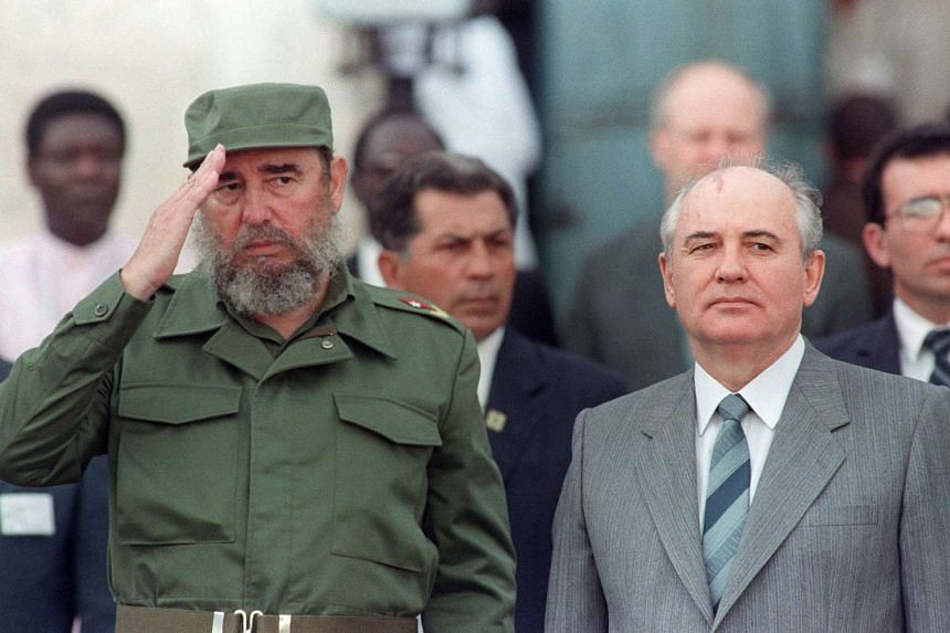 Former Cuban president Fidel Castro (left) welcoming General Secretary of the Communist Party of the Soviet Union Mikhail Gorbachev (right) during the official ceremony for Gorbachev's arrival in Havana, on April 2, 1989.
