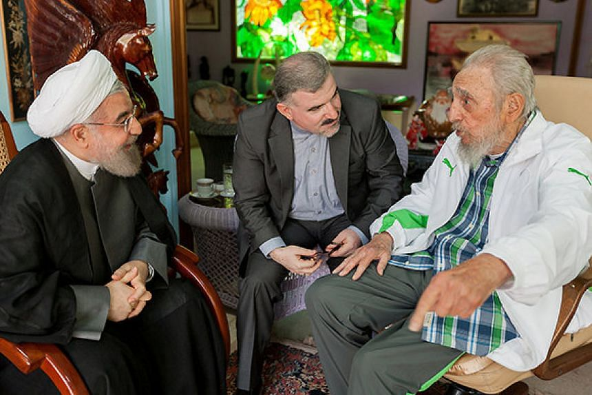 Former Cuban President Fidel Castro (right) and Iran's President Hassan Rouhani (left) meet in Havana, Cuba, on Sept 19, 2016.