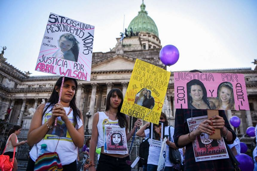 Activists marching during the commemoration of the International Day for the Elimination of Violence Against Women in Buenos Aires, on Nov 25, 2016.