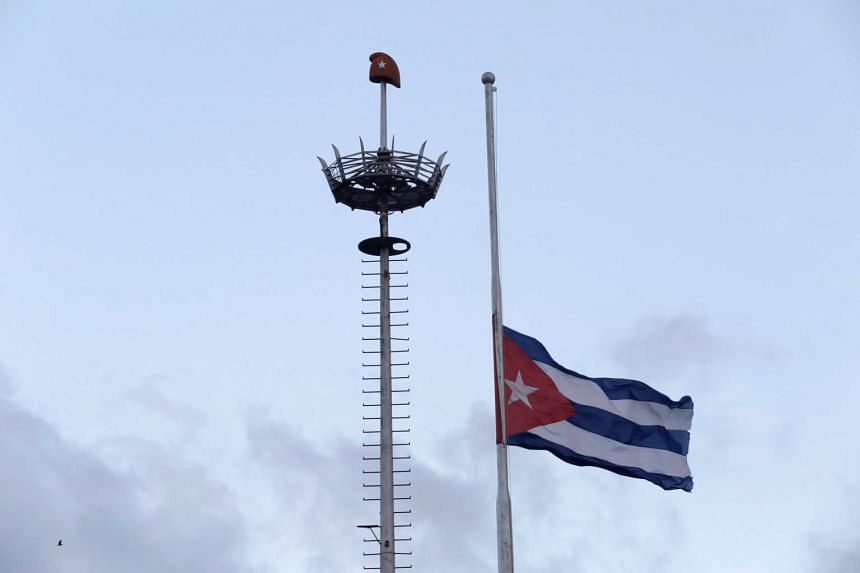 The Cuban flag flies at half mast after the death of Cuba's former President Fidel Castro was announced at Revolution Square in Havana, Cuba on Nov 26, 2016.